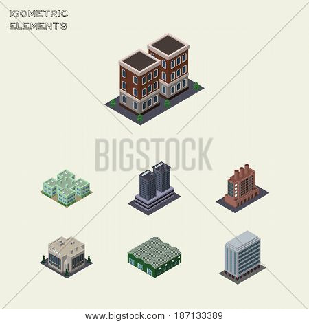 Isometric Urban Set Of Warehouse, Industry, Tower And Other Vector Objects. Also Includes Building, Tower, House Elements.