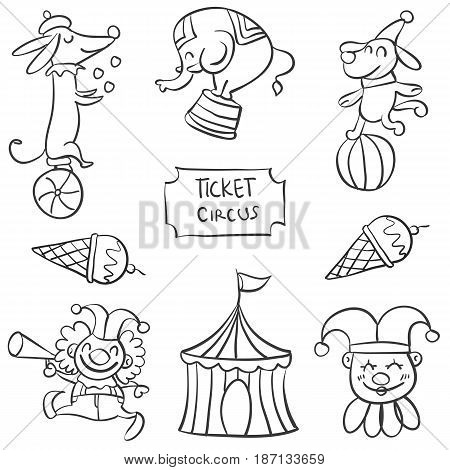 Vector art of circus element doodles collection stock