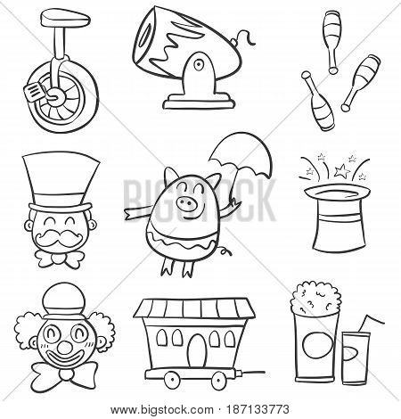 Doodle circus various element vector illustration collection