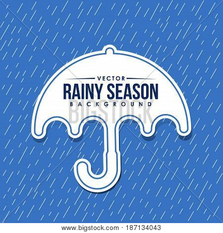 Rainy season background and umbrella tag vector design