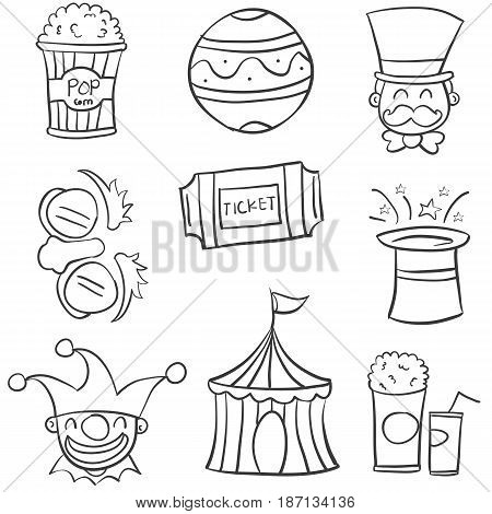 Doodle circus with ball tent hat vector illustration