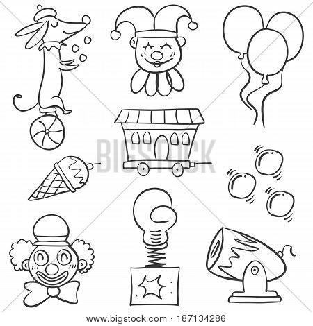 Doodle animal balloon for circus vector art