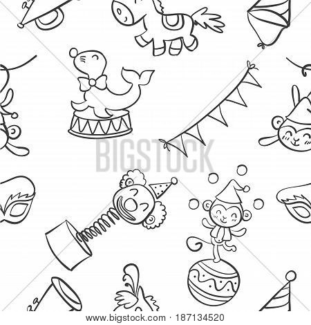 Collection circus object of doodles vector illustration