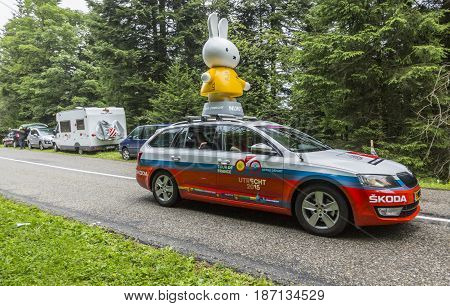 Col de Platzerwasel France - July 14 2014: Nijntje (Miffy) vehicle during the passing of the Publicity Caravan in front of the audience on the road to Mountain Pass Platzerwasel in Vosges mountains in the stage 10 of Le Tour de France on July 14 2014. Nij
