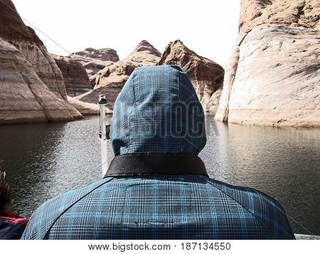 Tourist by Lake Powell boat tour ....just like a journey through time