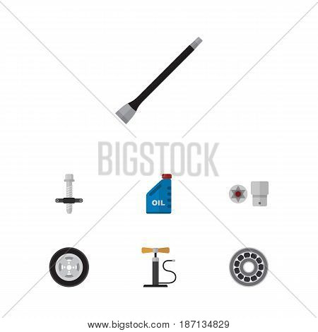 Flat Auto Set Of Brake Disk, Tire, Wheel Pump And Other Vector Objects. Also Includes Oil, Block, Silent Elements.