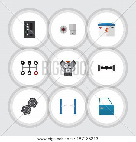 Flat Workshop Set Of Accumulator, Automatic Transmission, Turnscrew And Other Vector Objects. Also Includes Battery, Accumulator, Part Elements.