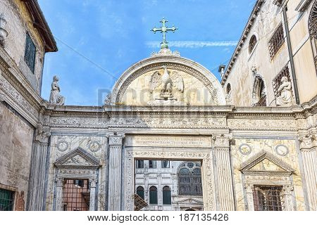Arhitectural facade in Venice Italy. ornamented religious building