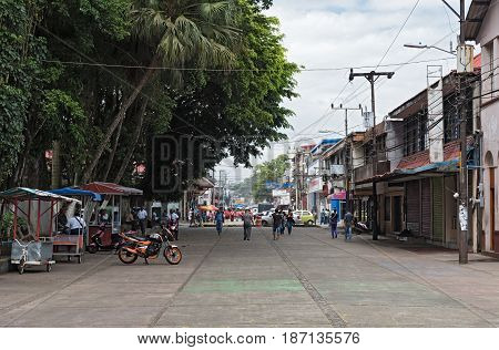 PUERTO LIMON, COSTA RICA-MARCH 20, 2017: Pedestrian zone at the Park Vargas in Puerto Limon, Costa Rica