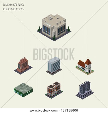 Isometric Building Set Of Company, Office, House And Other Vector Objects. Also Includes Building, Skyscraper, Storage Elements.