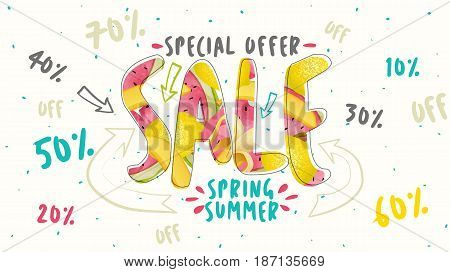 Sale banner. Trendy watermelon, banana, lemon texture. Season vocation, weekend, holiday logo. Summer Time Wallpaper. Summer vector watercolor Lettering text. Fashionable styling.