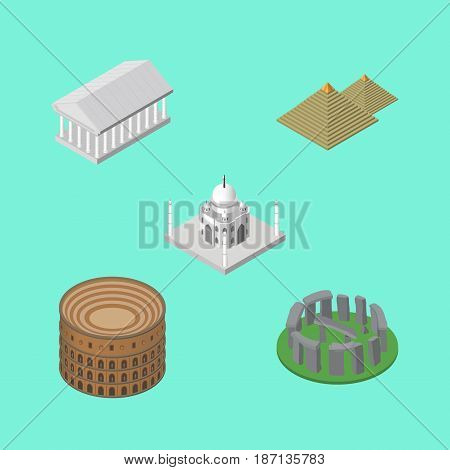 Isometric Architecture Set Of Coliseum, India Mosque, England Vector Objects. Also Includes Stonehenge, Mosque, Taj Elements.