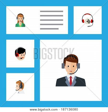 Flat Hotline Set Of Operator, Secretary, Headphone And Other Vector Objects. Also Includes Operator, Secretary, Help Elements.