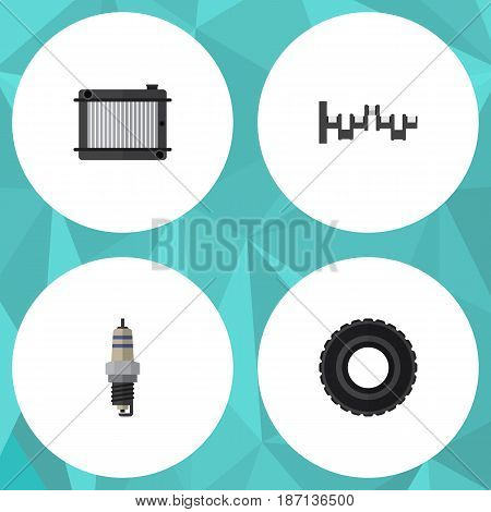 Flat Parts Set Of Wheel, Spare Parts, Heater And Other Vector Objects. Also Includes Crankshaft, Plug, Radiator Elements.