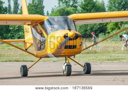 Zhitomir Ukraine - June 17 2011: Aeroprakt A-22 ultralight plane taxiing along the runway