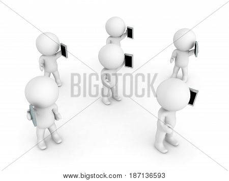 Many 3D Characters holding and talking on the phones. Image can be used in a communication scenario.