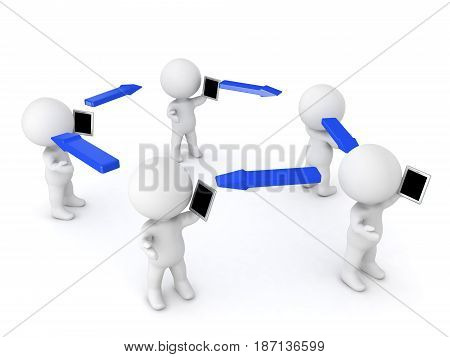 Many 3D Characters holding and talking on the phones with arrows between. Image can be used in a communication scenario.