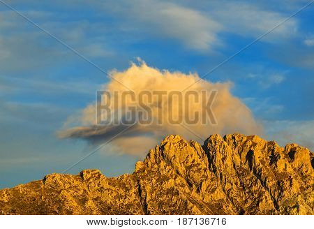 Beautiful sunset colors on a rocky crest in Le Devoluy Massif in Hautes-Alpes France.