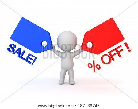 3D Character holding price cut tags in his hands depicting sale promotion. Images can be used in sales promotions by any sort of store.