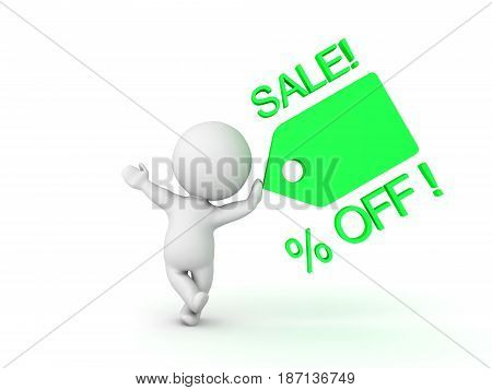3D Character leaning on green price tag showing price promotion. Images can be used in sales promotions by any sort of store.