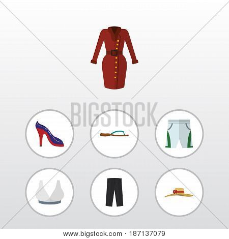 Flat Clothes Set Of Beach Sandal, Clothes, Brasserie Vector Objects. Also Includes Sandal, Clothes, Hat Elements.