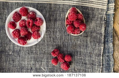 Plain Greek Yogurt with Raspberries close up