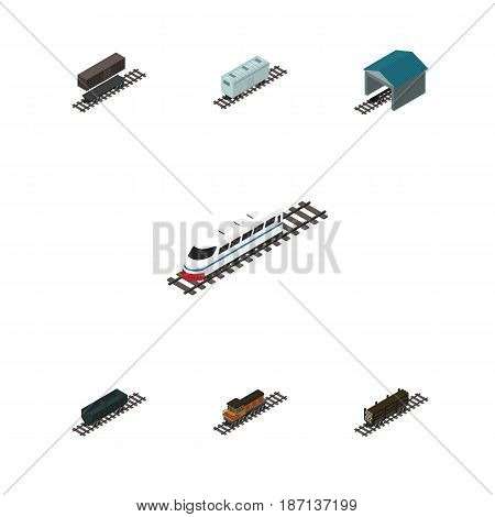 Isometric Railway Set Of Railroad Carriage, Delivery Tank, Depot And Other Vector Objects. Also Includes Depot, Lumber, Locomotive Elements.