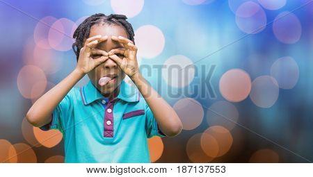 Digital composite of Happy girl teasing over bokeh