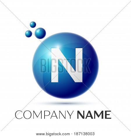 N Letter splash logo. Blue dots and circle bubble letter design on grey background. Vector Illustration