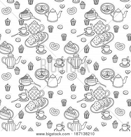 Sweets, teapots and bakery hand drawn pattern. One color. Vector seamless background.