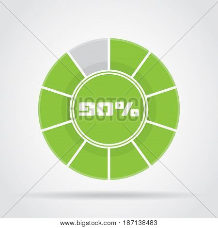Green pie chart percentage diagram with shadow