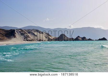 Qalansiya beach in the lagoon Detwah at sunset Socotra island Yemen
