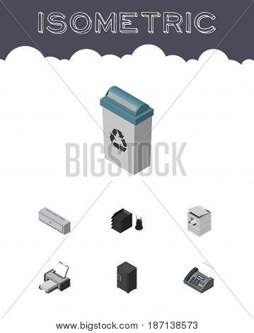 Isometric Office Set Of Printing Machine, Office Phone, Desk File Rack And Other Vector Objects. Also Includes File, Rack, Machine Elements.