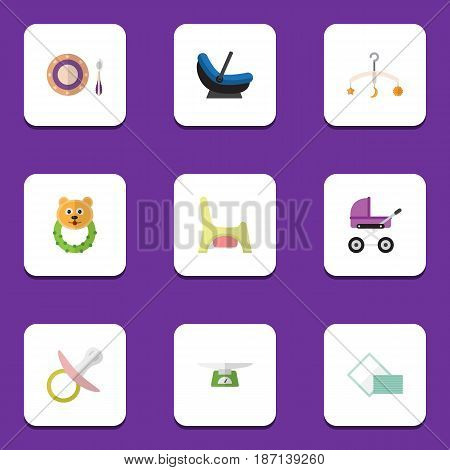 Flat Child Set Of Pram, Children Scales, Mobile And Other Vector Objects. Also Includes Nipple, Children, Scales Elements.