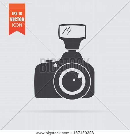 Camera Icon In Flat Style Isolated On Grey Background.