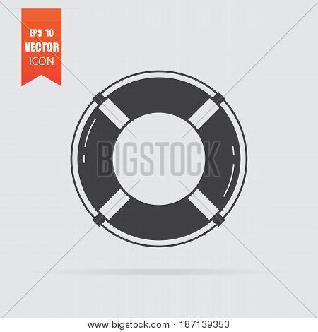 Lifebuoy Icon In Flat Style Isolated On Grey Background.