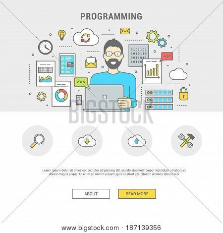 Development and programming concept banner. Digital devices, programmer creating computer software, mobile applications. Line flat design symbols and icons for web site, print. Vector illustration