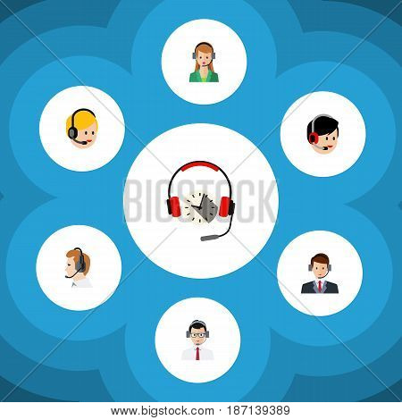 Flat Center Set Of Hotline, Secretary, Call Center And Other Vector Objects. Also Includes Online, Telemarketing, Help Elements.
