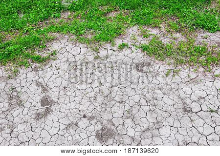 Dried cracked land. Drought and lack of moisture in the soil. Texture of the dead ground. The consequences of abnormal heat. The climate of the desert. Environmental disaster. Global warming.
