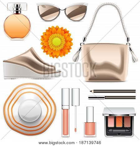 Vector Fashion Accessories Set 6 isolated on white background