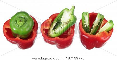 Red and  Green Bell Peppers on White Background