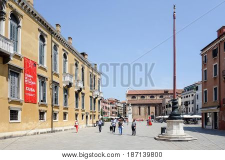 VENICE, ITALY - May 18, 2017: Venice Biennale. The 57th International Art Exhibition, titled VIVA ARTE VIVA in the historic city centre of Venice