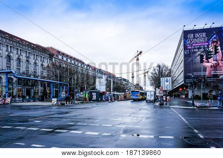 BERLIN, GERMANY- December 24, 2016 : Typical Street view December 24, 2016 in Berlin, Germany. Berlin is the capital of Germany. With a population of approximately 3.5 million people.BERLIN, GERMANY