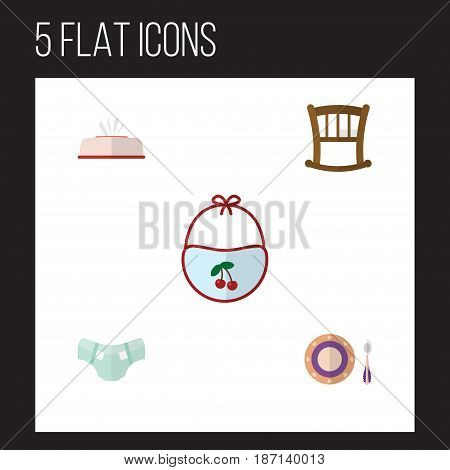 Flat Kid Set Of Tissue, Infant Cot, Nappy And Other Vector Objects. Also Includes Pinny, Pinafore, Dish Elements.
