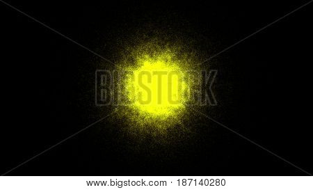 Abstract background with gold sphere. Sand effect. 3d rendering