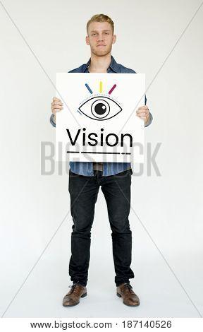 Man holding billboard network graphic overlay