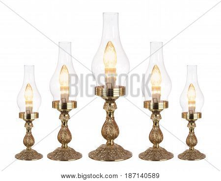 Row of Table Lamps on White Background