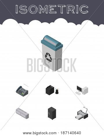 Isometric Business Set Of Printing Machine, Computer, Desk File Rack And Other Vector Objects. Also Includes Fax, Computer, Rack Elements.