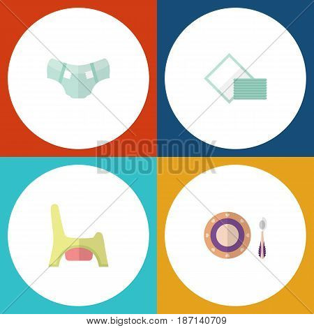 Flat Infant Set Of Toilet, Napkin, Nappy And Other Vector Objects. Also Includes Napkin, Tissue, Nappy Elements.