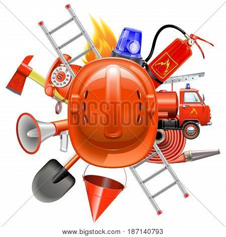 Vector Fire Prevention Concept with Helmet isolated on white background
